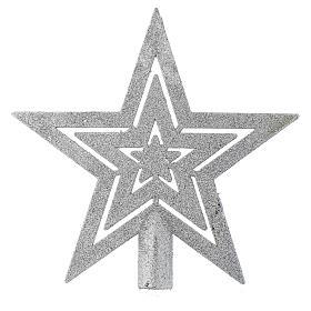 Cimier sapin Noël forme étoile argentée s1
