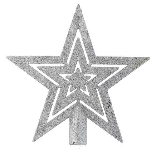 Cimier sapin Noël forme étoile argentée 1