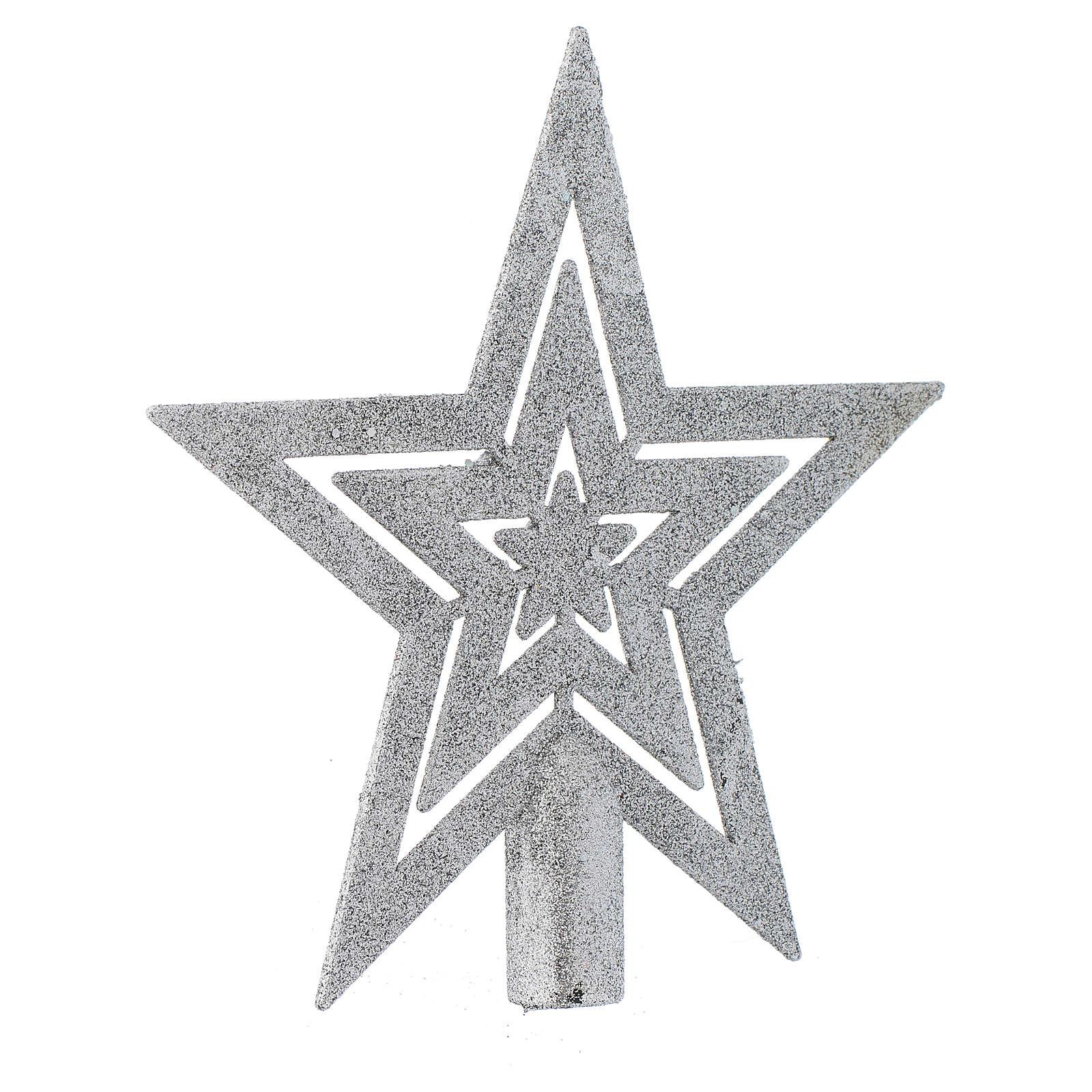Puntale Albero di Natale forma stella argentato 4