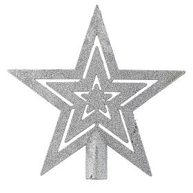 Puntale Albero di Natale forma stella argentato s1