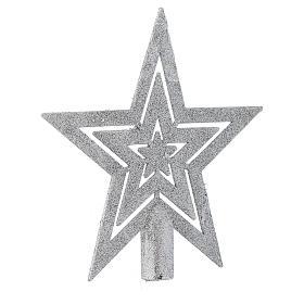 Puntale Albero di Natale forma stella argentato s2