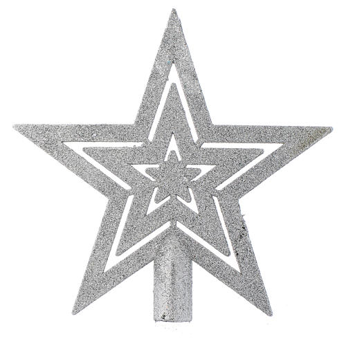 Puntale Albero di Natale forma stella argentato 1
