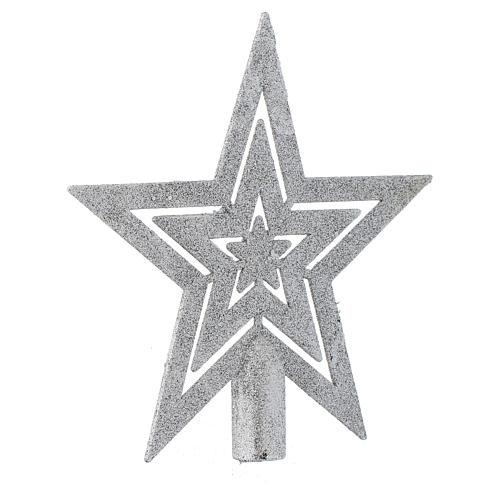 Puntale Albero di Natale forma stella argentato 2