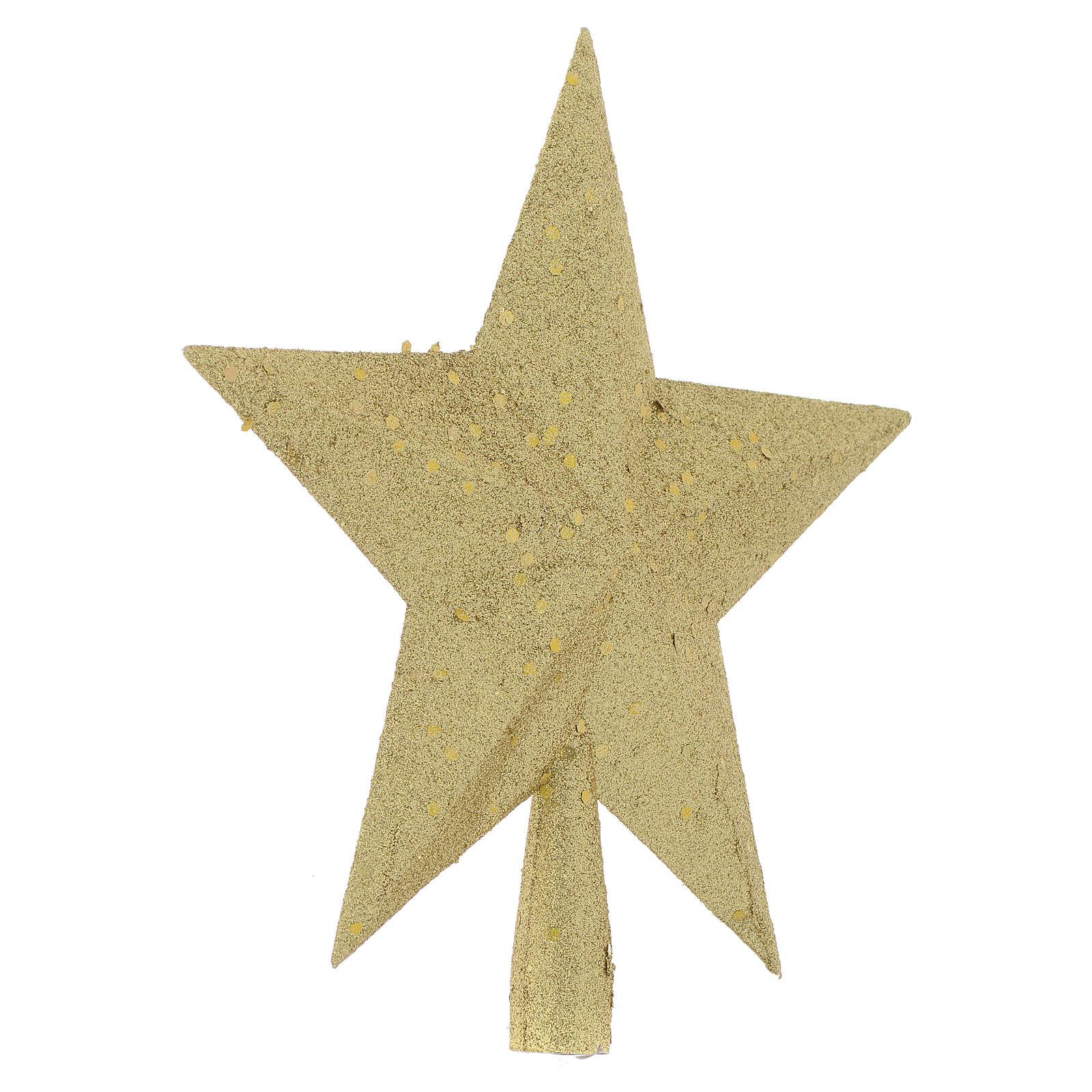 Punta del Árbol de navidad estrella con brillantina dorada 4