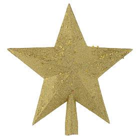 Punta del Árbol de navidad estrella con brillantina dorada s1