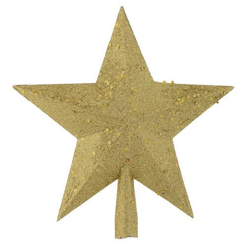 Punta del Árbol de navidad estrella con brillantina dorada 1