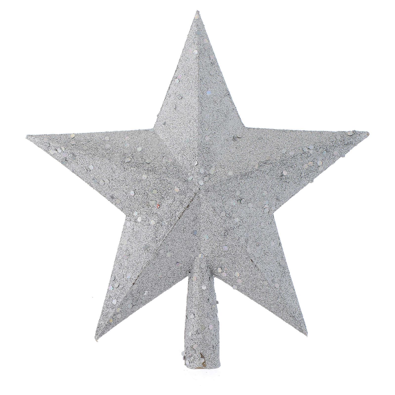 Ozdoba na czubek choinki gwiazda posrebrzana z brokatem 4
