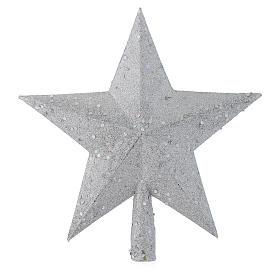 Ozdoba na czubek choinki gwiazda posrebrzana z brokatem s1