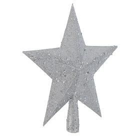 Ozdoba na czubek choinki gwiazda posrebrzana z brokatem s2