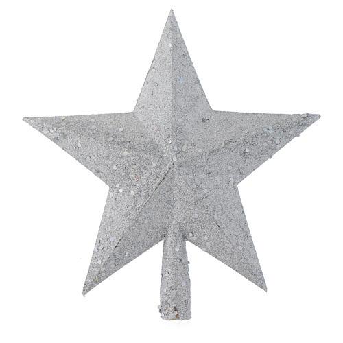 Ozdoba na czubek choinki gwiazda posrebrzana z brokatem 1