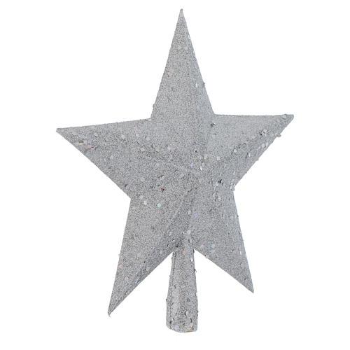 Ozdoba na czubek choinki gwiazda posrebrzana z brokatem 2