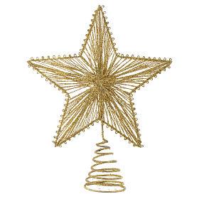 Adornos de madera y pvc para Árbol de Navidad: Punta 25 cm Estrella para Árbol de navidad color dorado