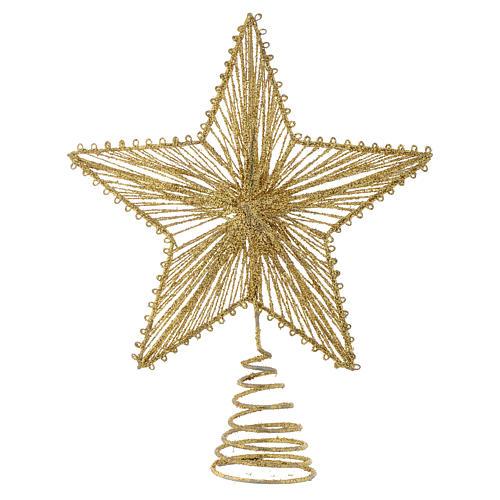 Cimier 25 cm étoile pour sapin de Noël doré 1