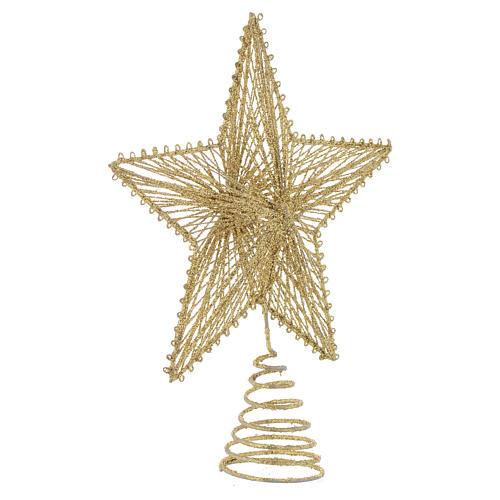 Cimier 25 cm étoile pour sapin de Noël doré 2