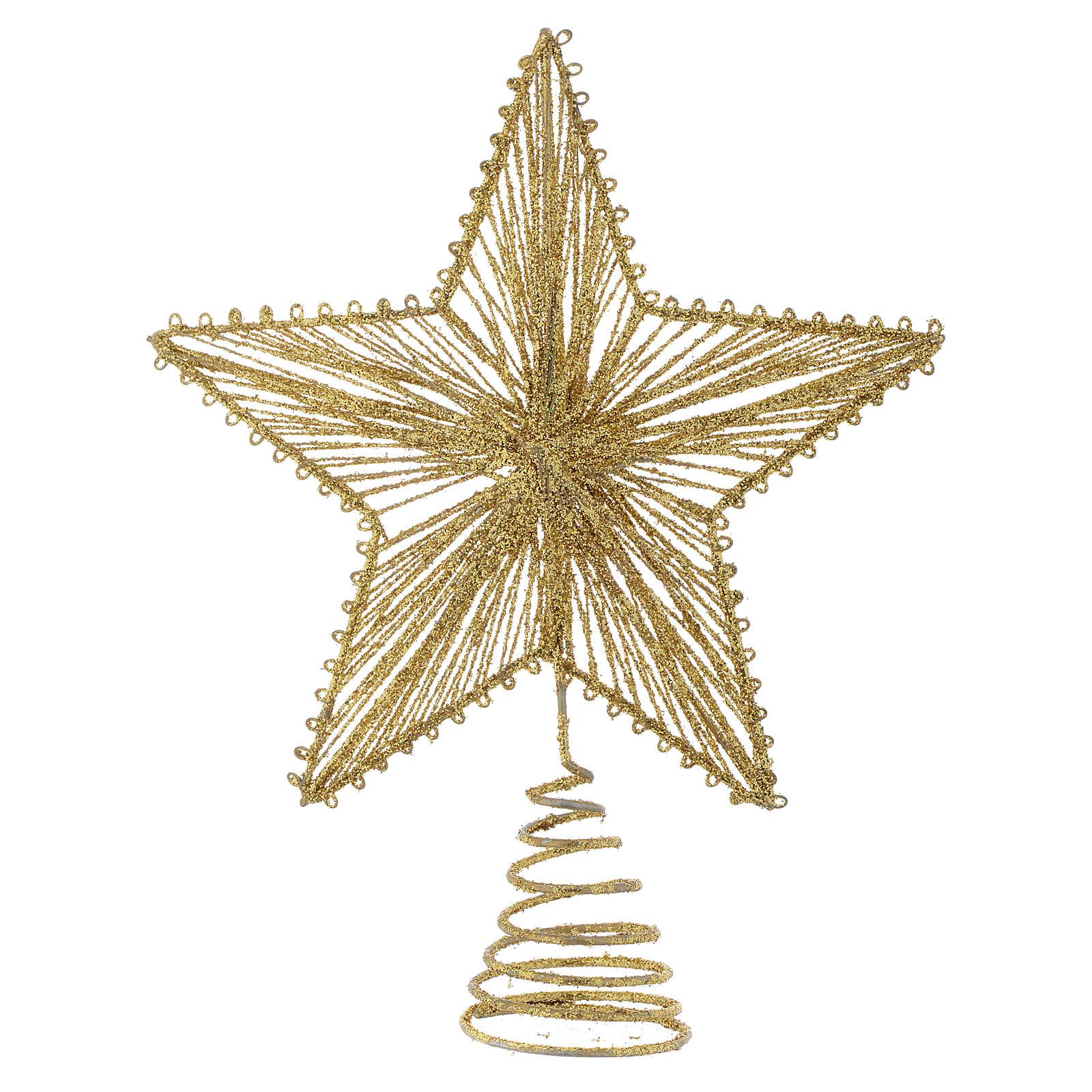 Puntale 25 cm Stella per Albero di Natale colore dorato 4