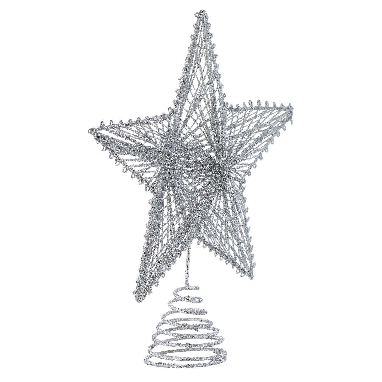 Punta 25 cm Estrella para el Árbol de Navidad color plata | venta ...