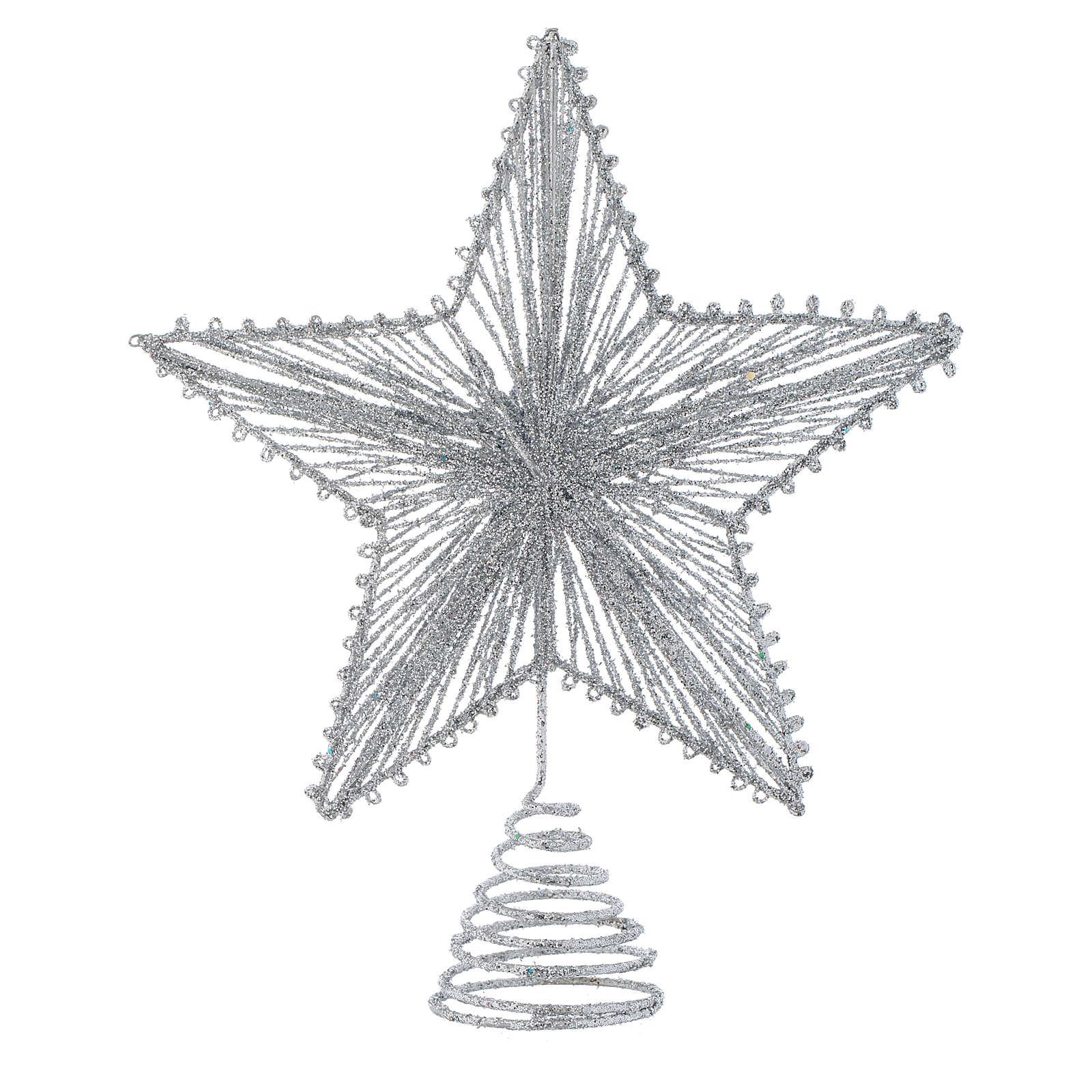 Puntale Albero Di Natale.Puntale 25 Cm Stella Per Albero Di Natale Colore Argentato