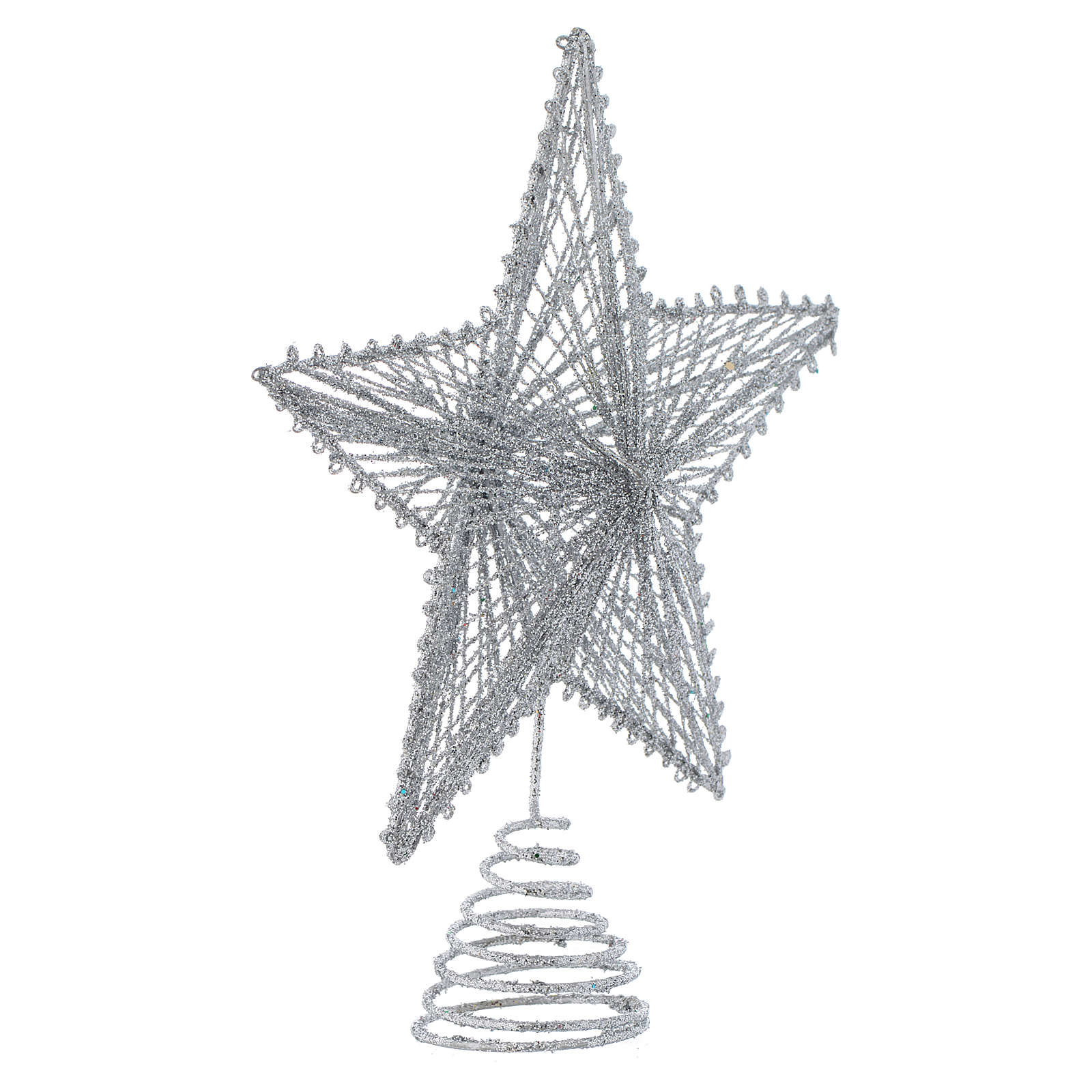 Puntale 25 cm Stella per Albero di Natale colore argentato 4