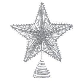 Puntale 25 cm Stella per Albero di Natale colore argentato s1