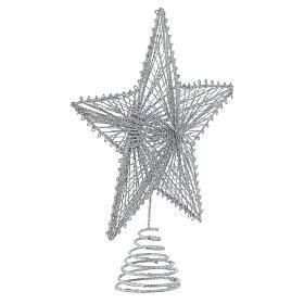 Puntale 25 cm Stella per Albero di Natale colore argentato s2