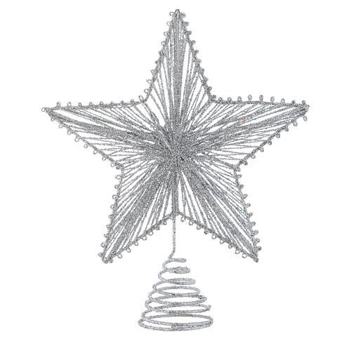 Puntale 25 cm Stella per Albero di Natale colore argentato 1