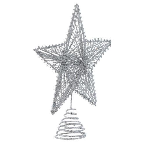 Puntale 25 cm Stella per Albero di Natale colore argentato 2