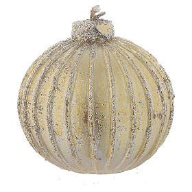 Velas Navideñas: Vela navideña bola árbol de Navidad oro, diámetro 5 cm, juego de 4 piezas