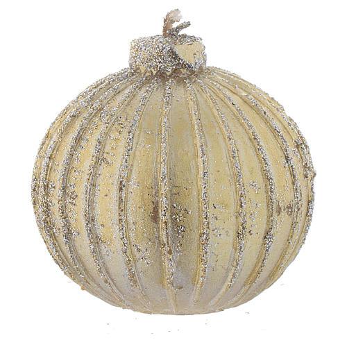 Vela navideña bola árbol de Navidad oro, diámetro 5 cm, juego de 4 piezas 1