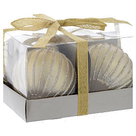 Vela de Natal bola árvore conjunto 4 peças dourada diâm. 5 cm s2