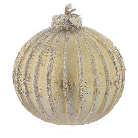 Christmas candles: Set of 4 Christmas candles, bauble shape, golden with a diameter of 5cm