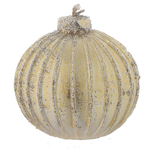 Set of 4 Christmas candles, bauble shape, golden with a diameter of 5cm 1