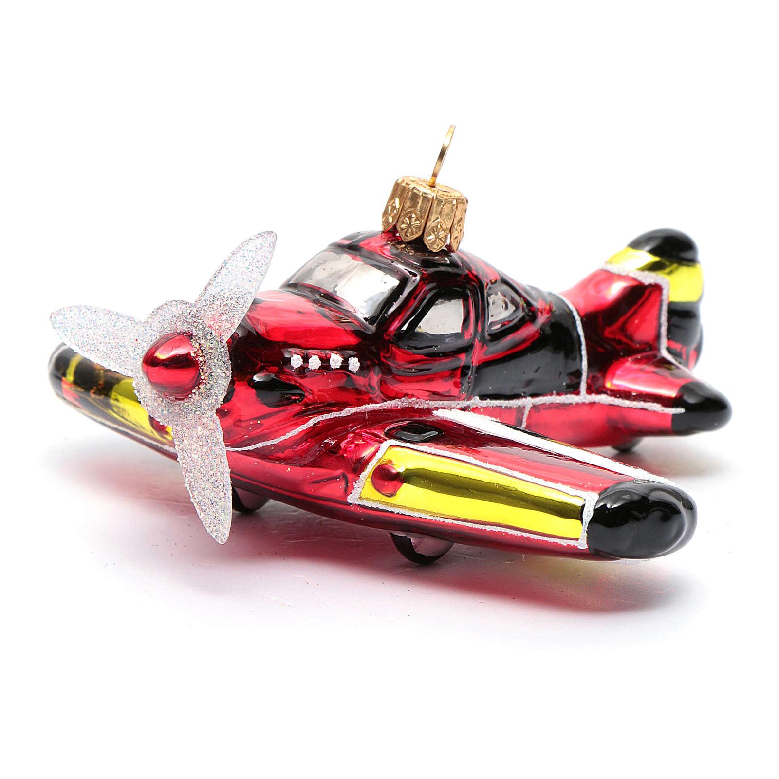 Blown glass Christmas ornament, aircraft 4