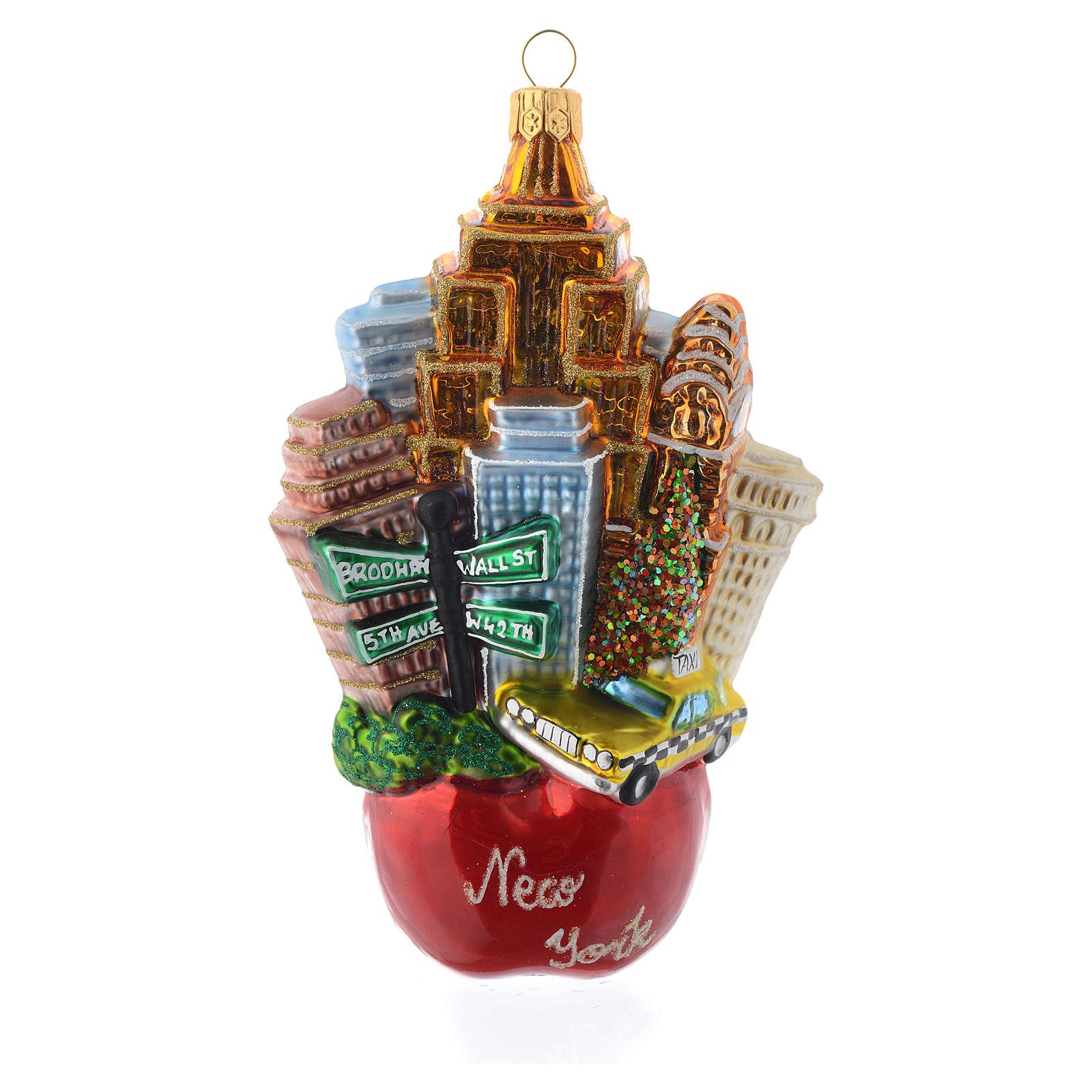 New York Paysage Pomme décor verre soufflé sapin Noël 4