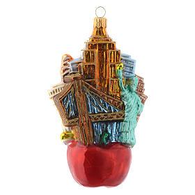 New York Paysage Pomme décor verre soufflé sapin Noël s4