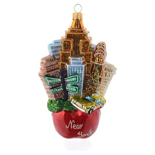 New York Paysage Pomme décor verre soufflé sapin Noël 1