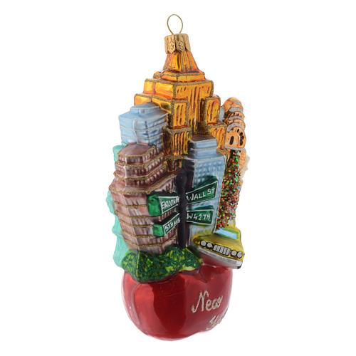 New York Paysage Pomme décor verre soufflé sapin Noël 3