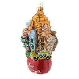 Nova Iorque paisagem Maçã vidro soprado adorno árvore Natal s2