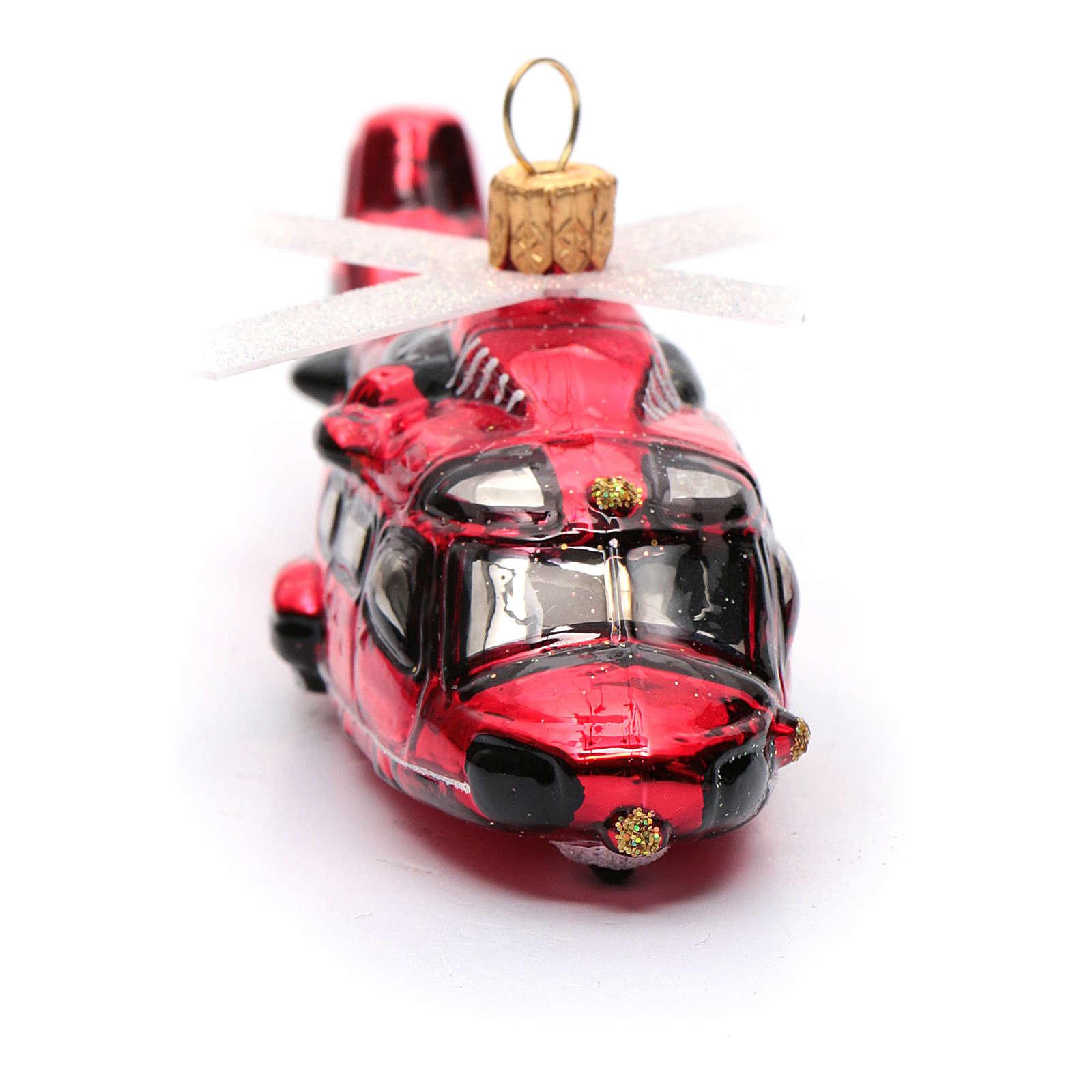 Elicottero rosso addobbo vetro soffiato Albero di Natale 4