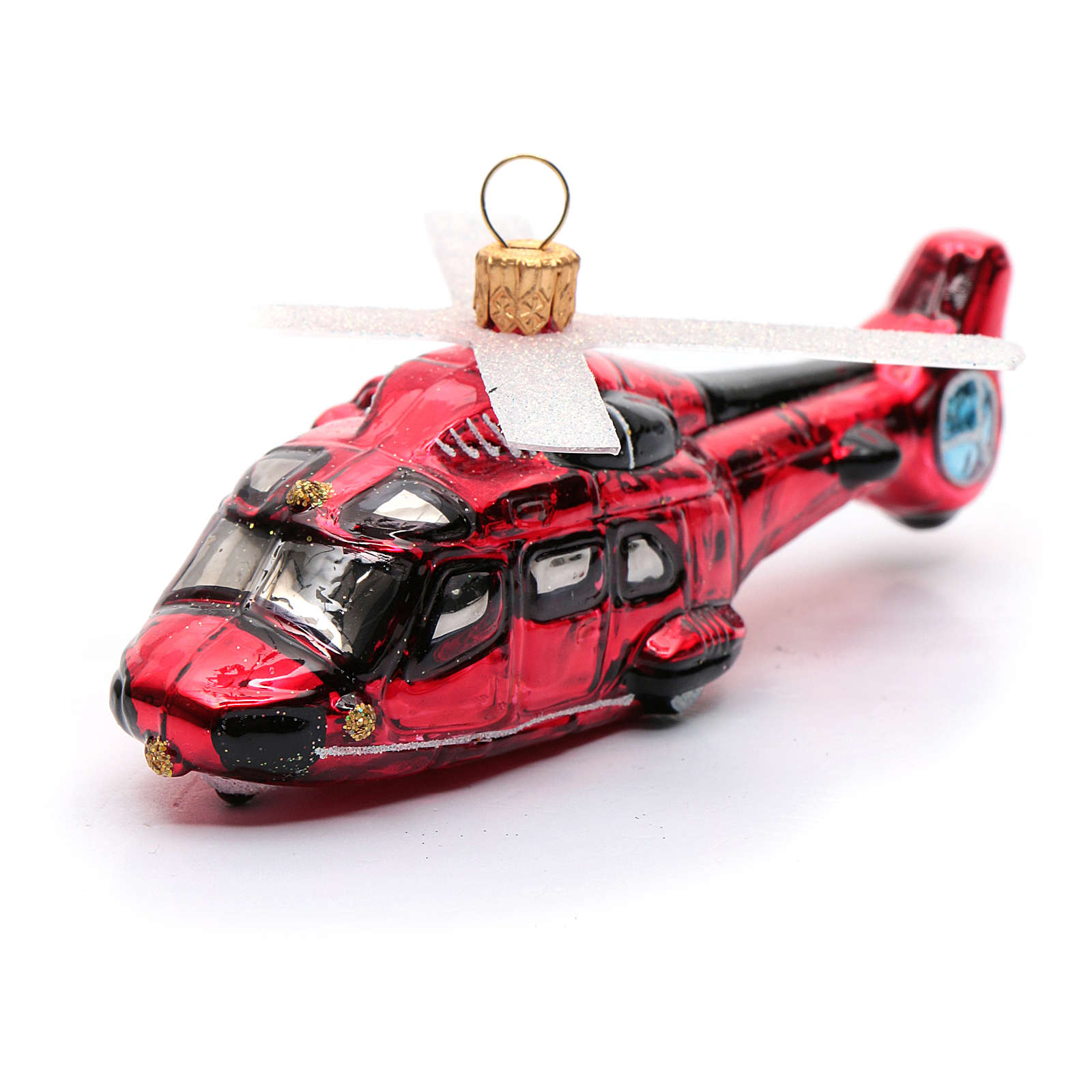 Blown glass Christmas ornament, red helicopter 4