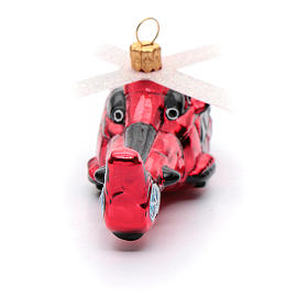 Blown glass Christmas ornament, red helicopter s3