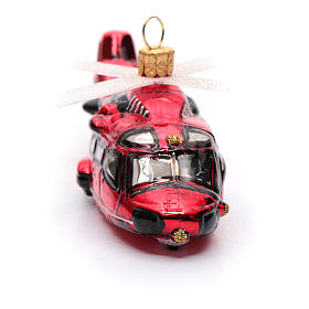 Blown glass Christmas ornament, red helicopter s4