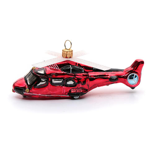 Blown glass Christmas ornament, red helicopter 2