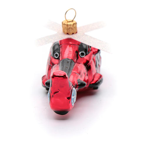 Blown glass Christmas ornament, red helicopter 3