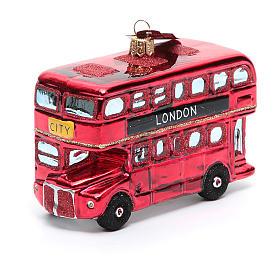 Autobús de Londres adorno vidrio soplado Árbol de Navidad s1