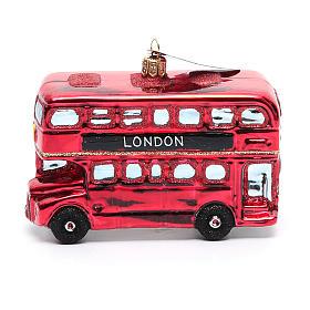 Autobús de Londres adorno vidrio soplado Árbol de Navidad s2