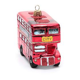 Autobús de Londres adorno vidrio soplado Árbol de Navidad s8