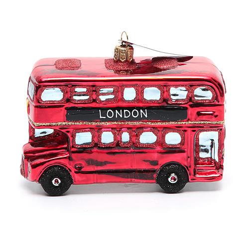 Autobús de Londres adorno vidrio soplado Árbol de Navidad 2