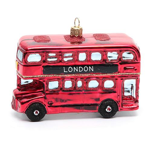 Autobús de Londres adorno vidrio soplado Árbol de Navidad 6
