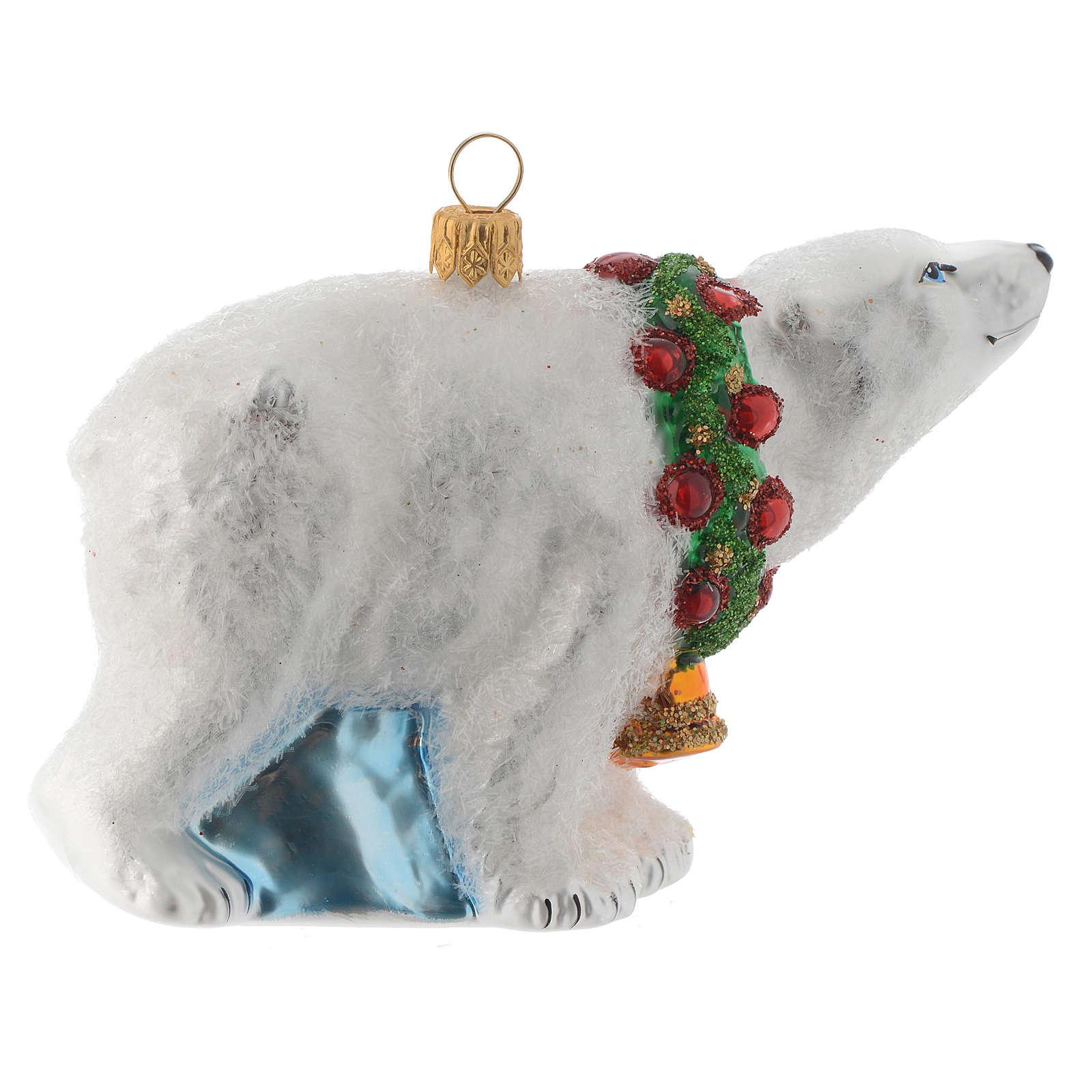Blown glass Christmas ornament, polar bear 4