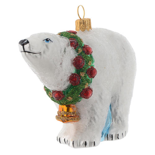 Blown glass Christmas ornament, polar bear 2